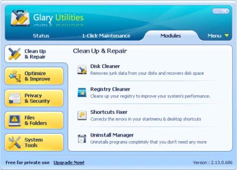 Opciones de Glary Utilities