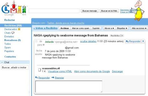 Un ejemplo de los nuevos mensajes de spam