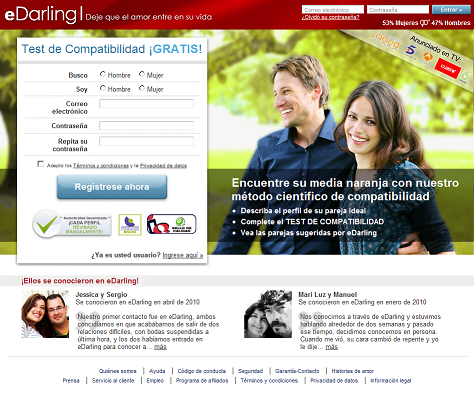 Sitio oficial de la red social eDarling.es
