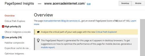 Resultados de la prueba de Pagespeed para Acercadeinternet.com