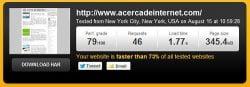 Resultado de la prueba de Pingdom en Acercadeinternet.com