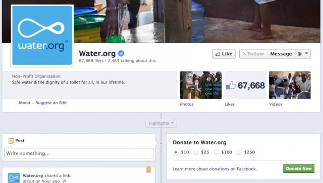 Botón para donar en Facebook