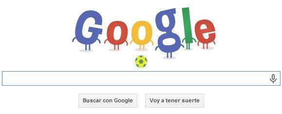 Vista inicial del logo de Google por el Mundial de Brasil