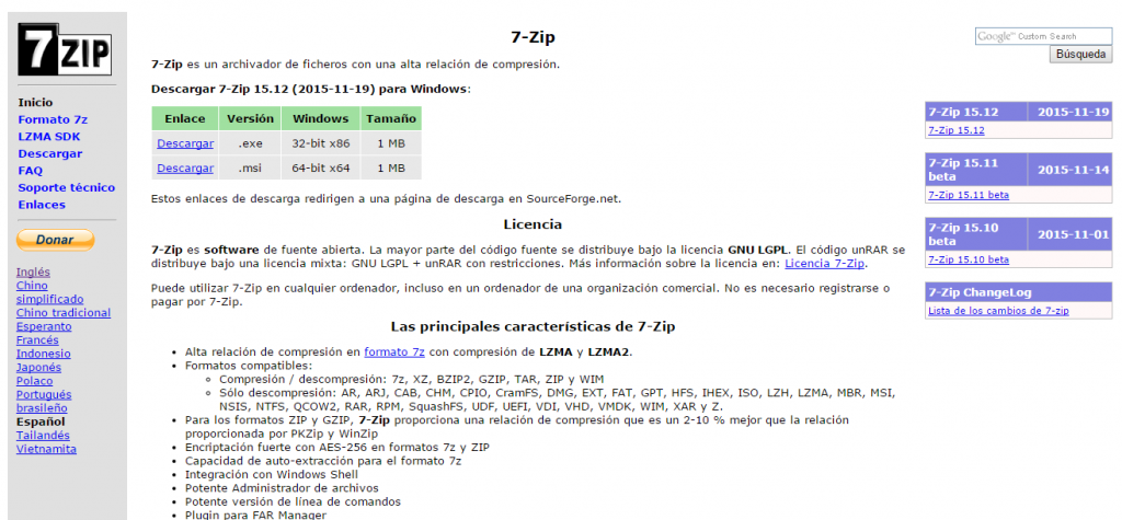 Sitio de 7-Zip