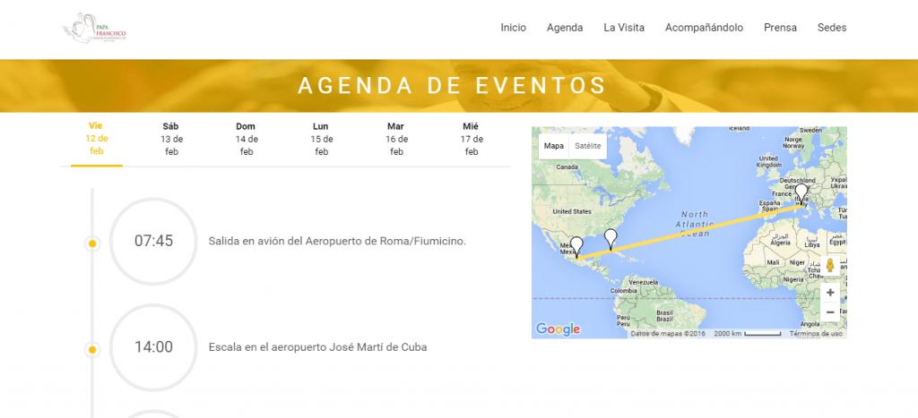La agenda de la visita del Papa