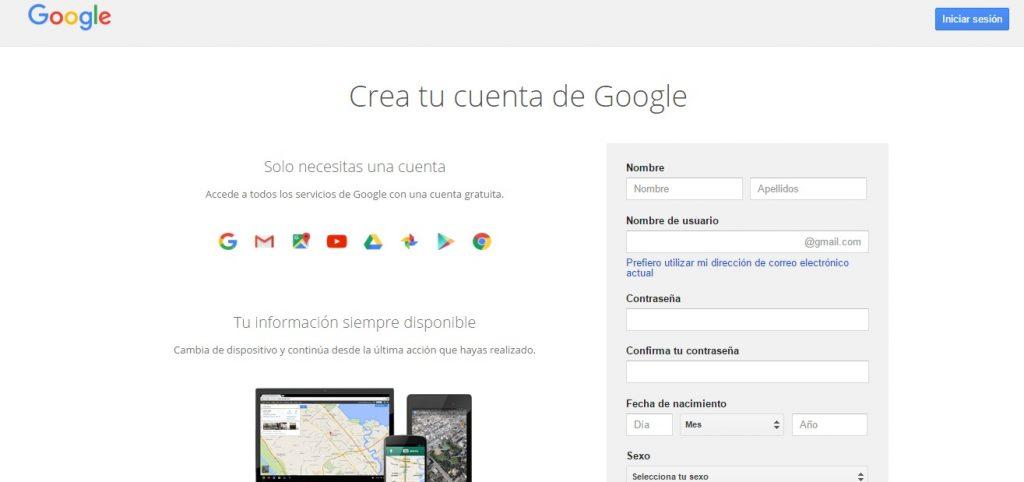 Formulario para crear cuenta en Gmail