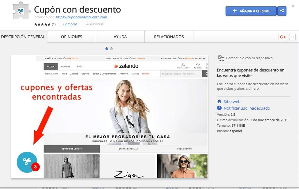 La extensión para Google Chrome