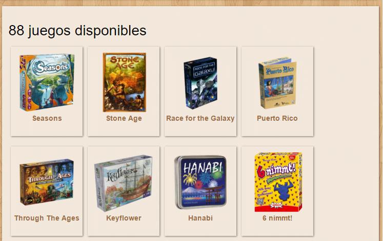 Juegos disponibles en el sitio