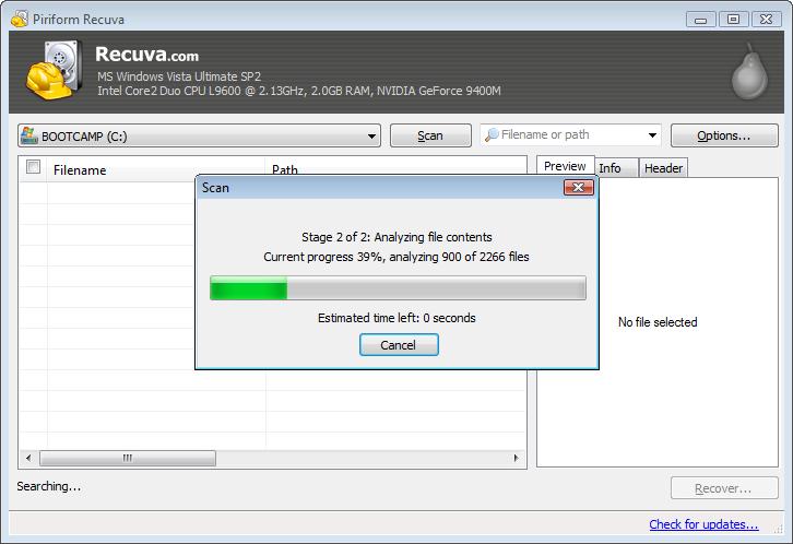 Recuperando archivos con Recuva