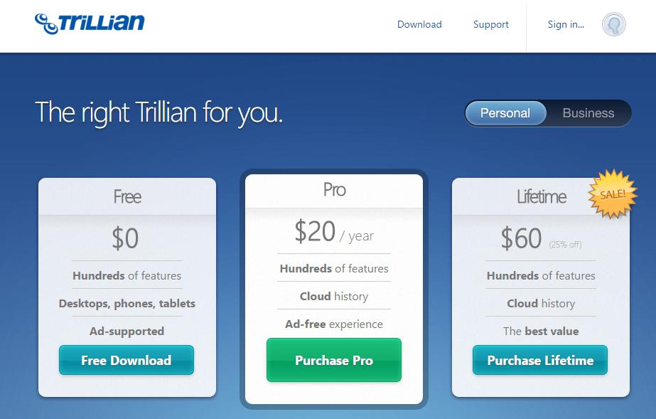 Trillian: opciones