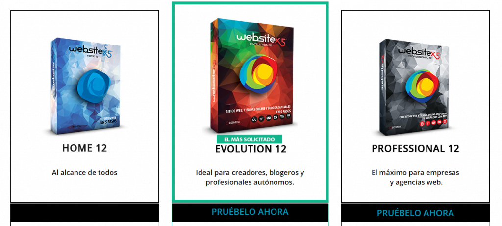 Versiones del programa Website x5