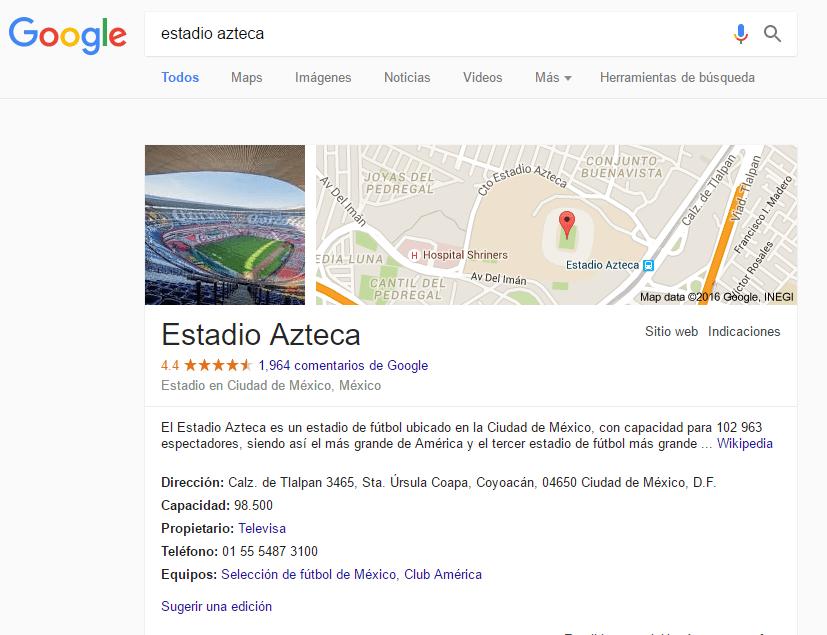 """Cambio de Google en búsqueda """"Estadio Azteca"""""""