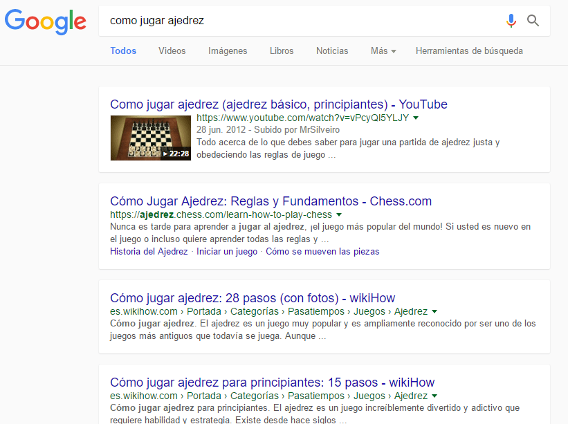 """Cambio de Google en un resultado """"normal"""""""