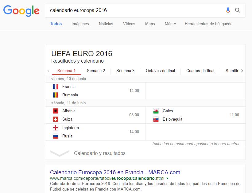 Cambio Google resultados deportivos